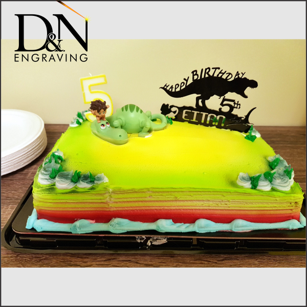 Personalized Acrylic Dinosaur Cake Topper | D&N Engraving