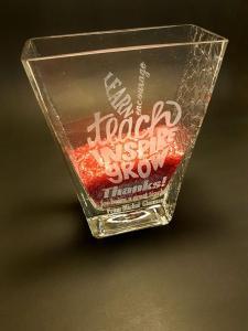 Teachers gift vase engraving